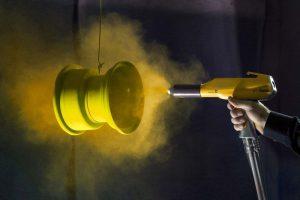 Powder coating sprayed on metal
