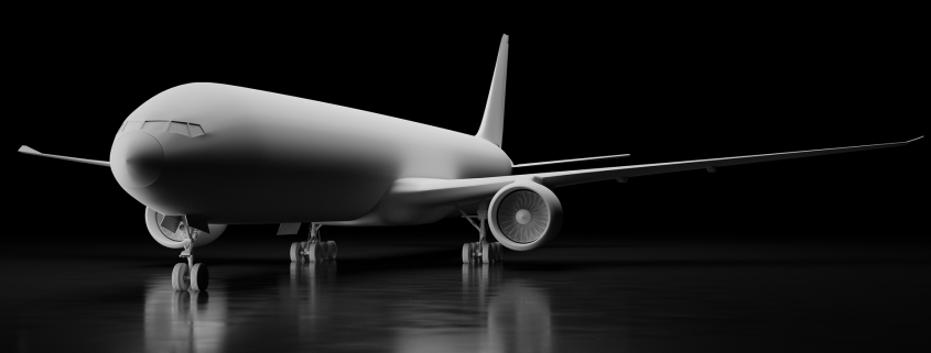 aerospace coatings applied to a white airplane against black background