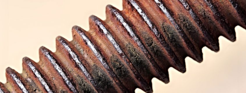 a rusty bolt that was treated with anti corrosion coating