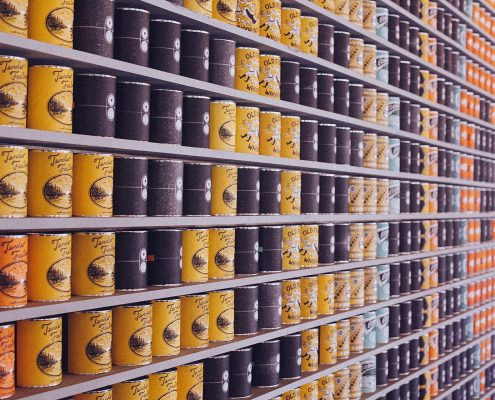 packaging coatings for metal on food cans in a supermarket