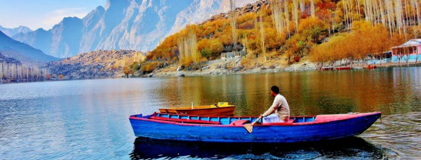 marine coating applied to a small boat in a lake in pakistan